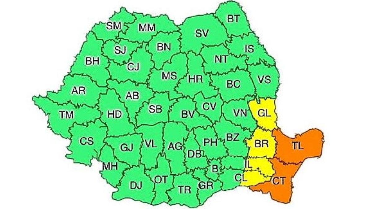 VIDEO Cod Portocaliu pentru Constanța și Tulcea, valabil până la ora 21.00