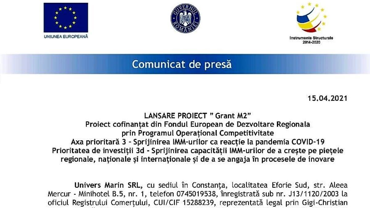 """Univers Marin SRL anunță lansarea proiectului """"Grant M2"""""""