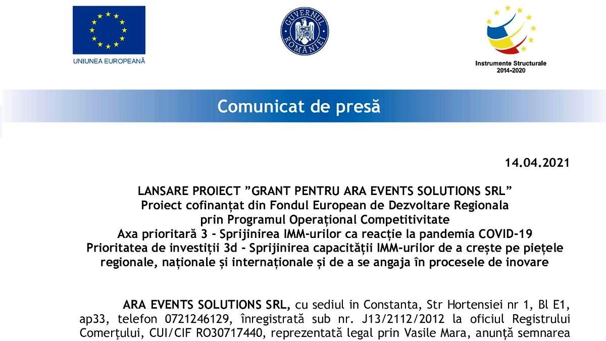 """A fost lansat proiectul """"Grant pentru Ara Events Solutions SRL"""", cofinanțat din Fondul European de Dezvoltare Regionala"""