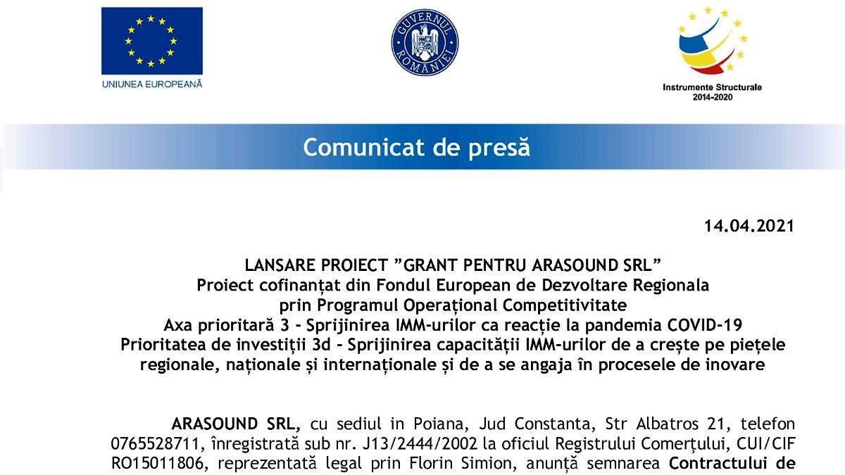 """Eveniment de lansare a proiectului """"Grant pentru Arasound SRL"""""""