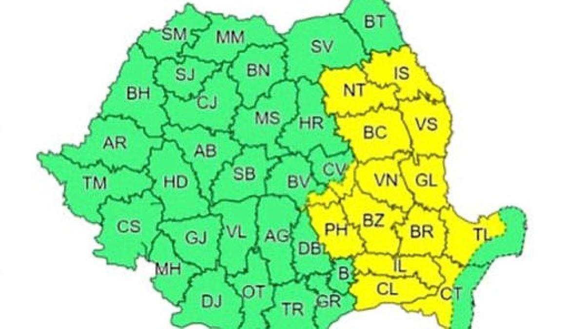 Județul Constanța a intrat sub o nouă atenționare meteorologică Cod Galben
